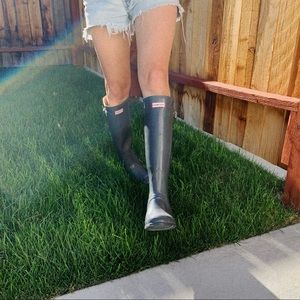HUNTER rain boots tall slate gray wellies